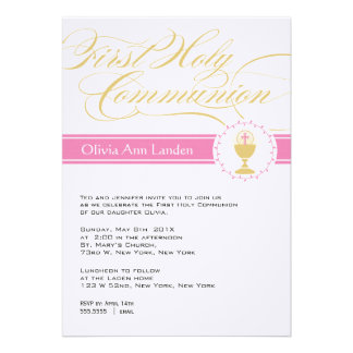 Fancy Script First Communion Invitations Pink