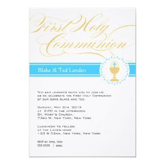 Fancy Script First Communion Invitations  |  Twins