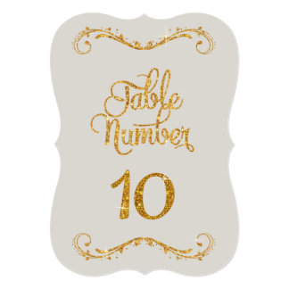 Fancy Script Glitter Table Number 10 Events Card