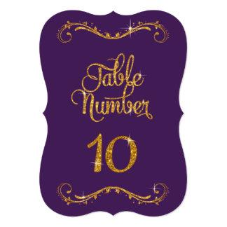 Fancy Script Glitter Table Number 10 Formal Dinner Card
