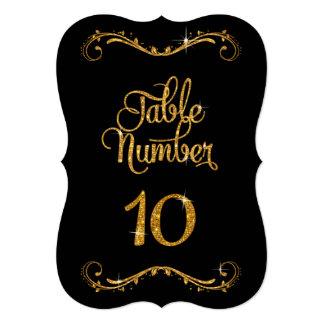 Fancy Script Glitter Table Number 10 Receptions Card