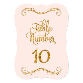 Fancy Script Glitter Table Number 10 Weddings Card