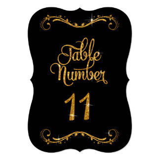 Fancy Script Glitter Table Number 11 Receptions Card
