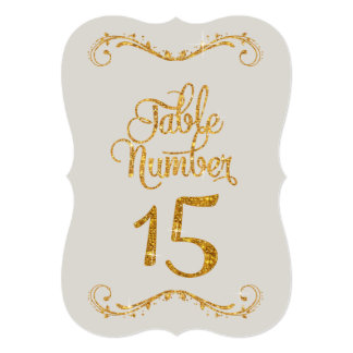 Fancy Script Glitter Table Number 15 Eventss 5x7 Paper Invitation Card