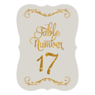 Fancy Script Glitter Table Number 17 Events 5x7 Paper Invitation Card