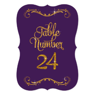 Fancy Script Glitter Table Number 24 Formal Dinner 5x7 Paper Invitation Card