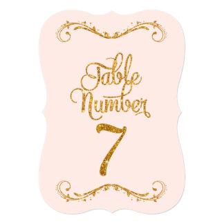Fancy Script Glitter Table Number 7 Weddings 5x7 Paper Invitation Card