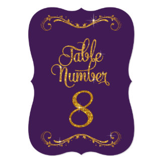 Fancy Script Glitter Table Number 8 Formal Dinner 5x7 Paper Invitation Card