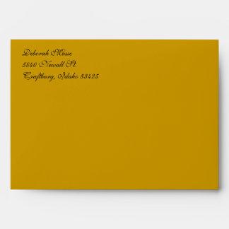 Fancy Script Gold A7 Return Address Envelopes