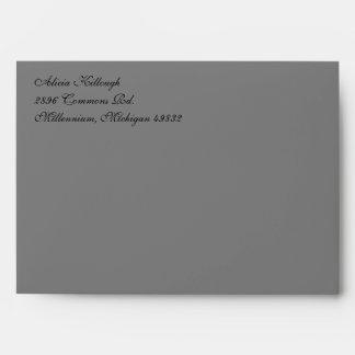 Fancy Script Gray A7 Return Address Envelopes