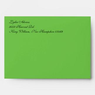 Fancy Script Green A7 Return Address Envelopes