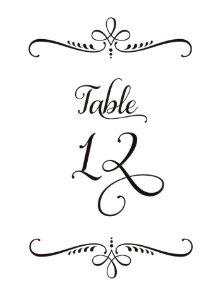 Fancy Script Lettering Table Number 12 Receptions