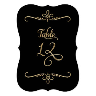 Fancy Script Lettering Table Number 12 Receptions Card