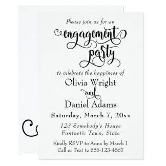 Fancy Script Letters Black White Engagement Party Card