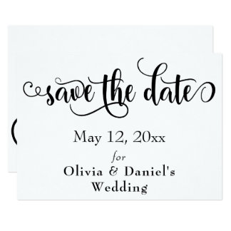 Fancy Script Letters Black & White Save the Date Card