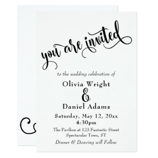 Fancy Script Letters Black & White Wedding Card