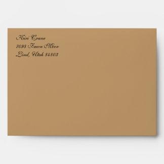 Fancy Script Light Brown A7 Return Address Envelope