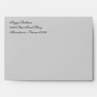 Fancy Script Light Gray A7 Return Address Envelope