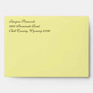 Fancy Script Light Yellow A7 Return Address Envelope