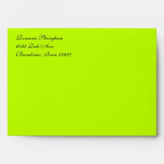 Fancy Script Lime Green A7 Return Address Envelope