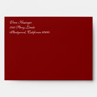 Fancy Script Maroon A7 Return Address Envelopes