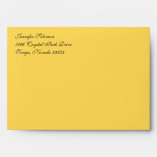 Fancy Script Mustard Yellow A7 Return Address Envelope