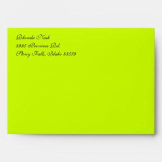 Fancy Script Neon Green A7 Return Address Envelope