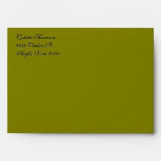 Fancy Script Olive Green  Return Address Envelopes