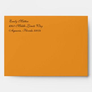 Fancy Script Orange A7 Return Address Envelopes