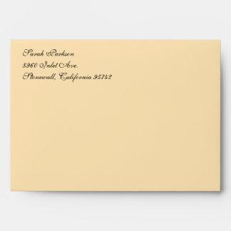 Fancy Script Peach A7 Return Address Envelopes