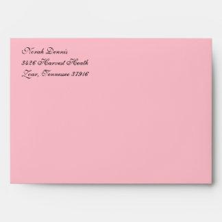 Fancy Script Pink A7 Return Address Envelopes