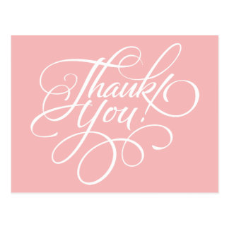 Fancy Script Powder Pink Thank You Card Post Cards