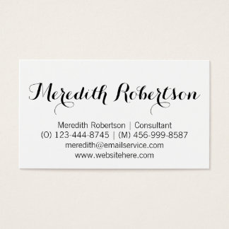 Fancy Script Professional White Business Cards