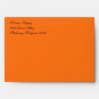 Fancy Script Pumpkin Orange A7 Return Address Envelope