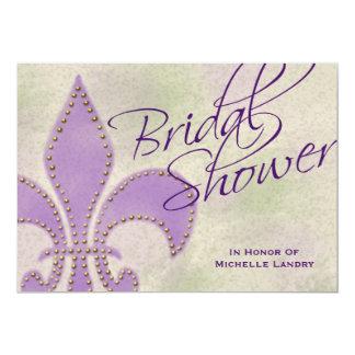 Fancy Script Purple Fleur de Lis Bridal Shower Card