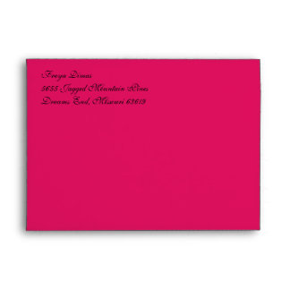 Fancy Script Ruby Red A7 Return Address Envelopes