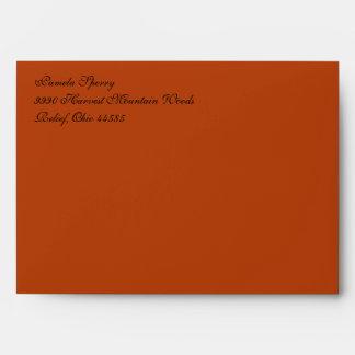 Fancy Script Rust Red A7 Return Address Envelopes