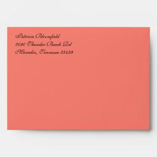 Fancy Script Salmon A7 Return Address Envelopes