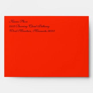Fancy Script Scarlet A7 Return Address Envelopes