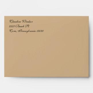 Fancy Script Tan A7 Return Address Envelopes