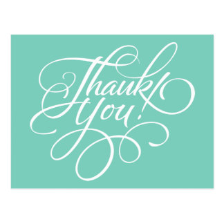 Fancy Script Turquoise Thank You Card