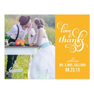 Fancy Script Wedding Thank You Postcard   Mustard