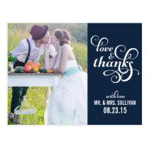 Fancy Script Wedding Thank You Postcard   Navy