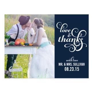 Fancy Script Wedding Thank You Postcard | Navy