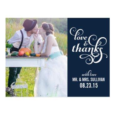 Beach Themed Fancy Script Wedding Thank You Postcard   Navy