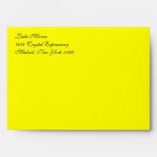 Fancy Script Yellow A7 Return Address Envelopes