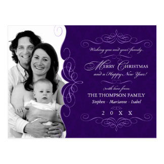 Fancy Scroll: Aubergine Christmas photo postcard
