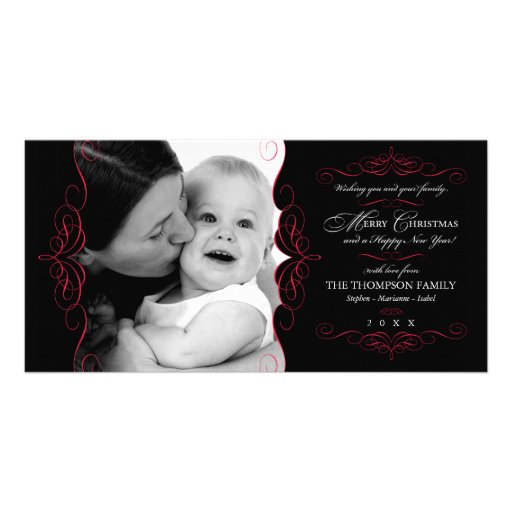 Fancy Scroll Black & Red Christmas photo card