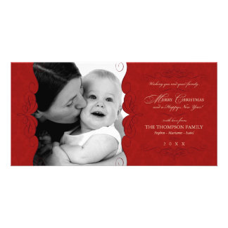 Fancy Scroll: Deep Red Christmas photo card