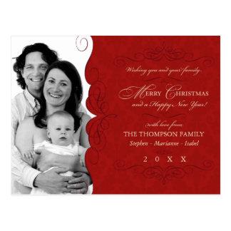 Fancy Scroll: Deep Red Christmas photo postcard